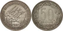 World Coins - EQUATORIAL AFRICAN STATES, 50 Francs, 1961, Paris, EF(40-45), Copper-nickel