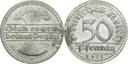 World Coins - Coin, GERMANY, WEIMAR REPUBLIC, 50 Pfennig, 1921, Munich, , Aluminum