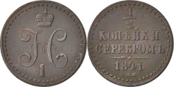 World Coins - RUSSIA, Denga, 1/2 Kopek, 1841, Kolpino, KM #143.3, , Copper, 4.69