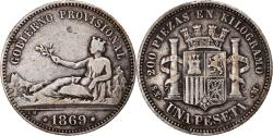 World Coins - Coin, Spain, Provisional Government, Peseta, 1869, Madrid, , Silver