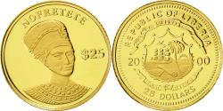 World Coins - Liberia, 25 Dollars, Nofretete, 2000, American Mint, MS(65-70), Gold, KM:512