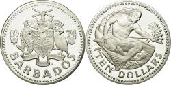 World Coins - Coin, Barbados, 10 Dollars, 1974, Franklin Mint, , Silver, KM:17a