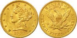 Us Coins - Coin, United States, 5 Dollars Coronet Head, 1902, Philadelphia, , Gold