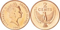 World Coins - SOLOMON ISLANDS, 2 Cents, 2005, KM #25, , Bronze Plated Steel, 21.6, 4.57