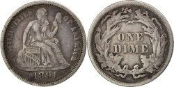 Us Coins - United States, Seated Liberty Dime, 1891, Philadelphia, EF, KM:A92