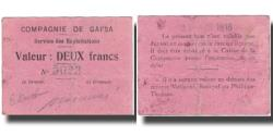 World Coins - Banknote, Tunisia, GAFSA, 2 Francs, valeur faciale, 1916, 1916-04-25, EF(40-45)