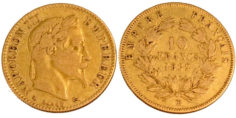 World Coins - FRANCE, Napoléon III, 10 Francs, 1862, Strasbourg, KM #800.2, , Gold, G
