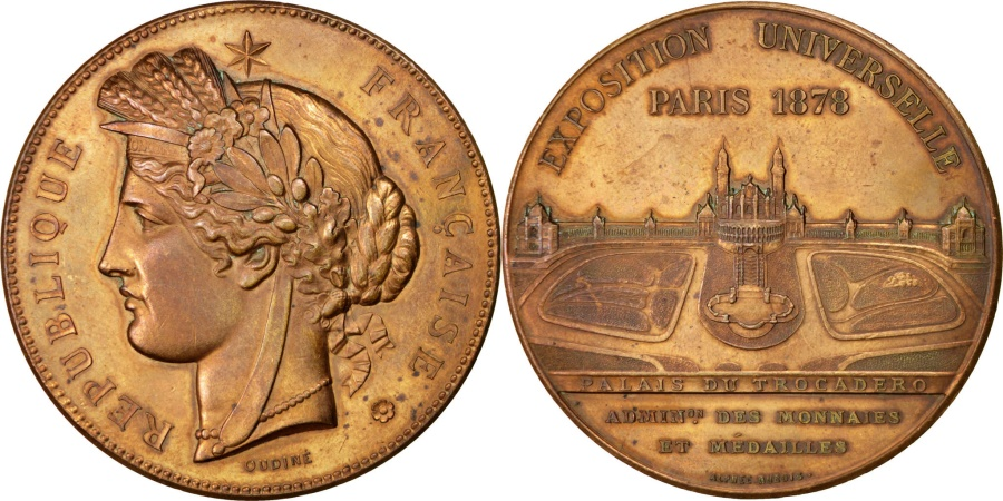 World Coins - FRANCE, Sciences & Technologies, French Third Republic, Medal, 1878, ,.