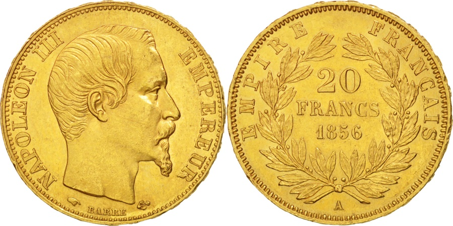 World Coins - France, Napoleon III, 20 Francs, 1856, Paris, , Gold, KM:781.1