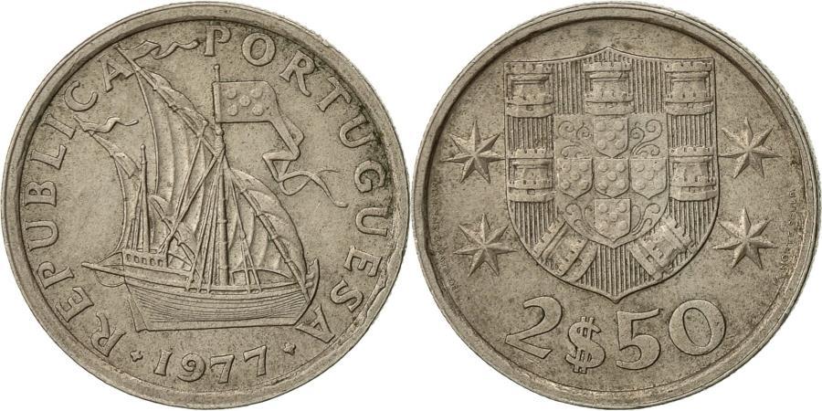 World Coins - Portugal, 2-1/2 Escudos, 1977, , Copper-nickel, KM:590