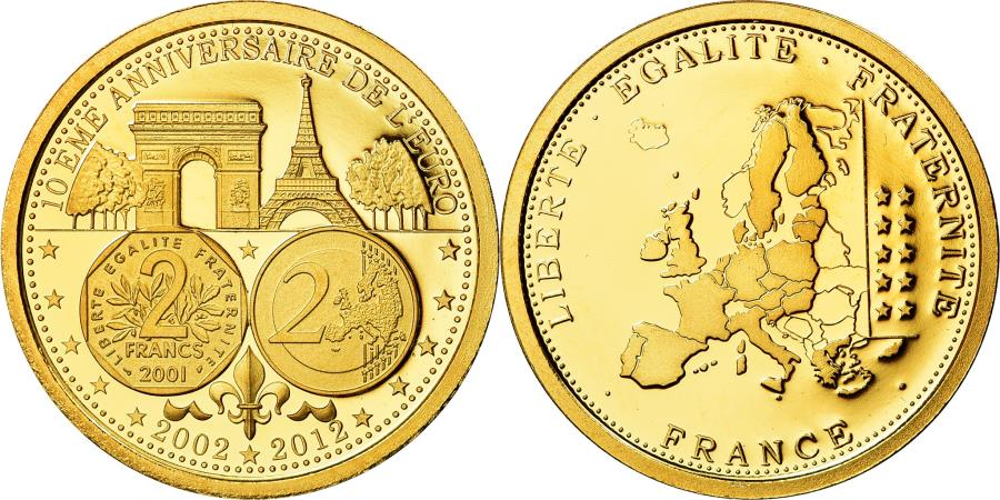 World Coins - France, Medal, 10ème Anniversaire de l'Euro, Politics, Society, War, 2012