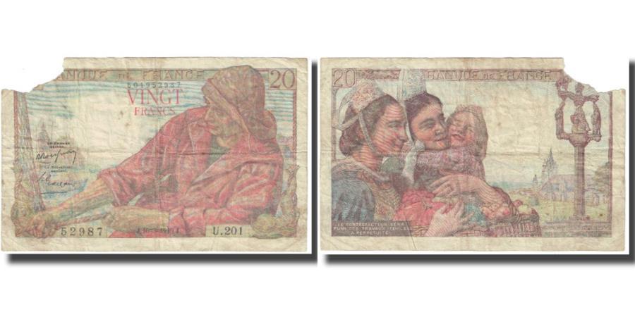 World Coins - France, 20 Francs, 1949, 1949-03-10, AG(1-3), Fayette:13.14, KM:100c