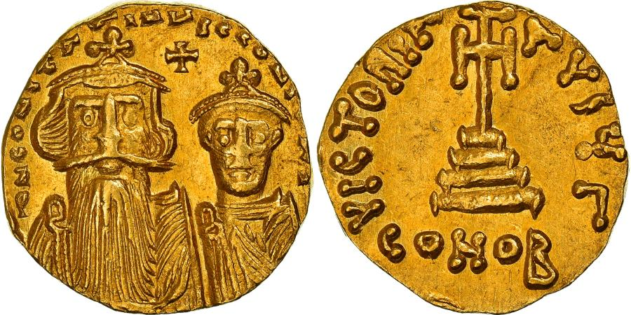 Ancient Coins - Coin, Constans II and Constantine IV, Solidus, 654–659, Constantinople