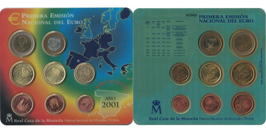 World Coins - Spain, Euro Set of 8 coins, 2001
