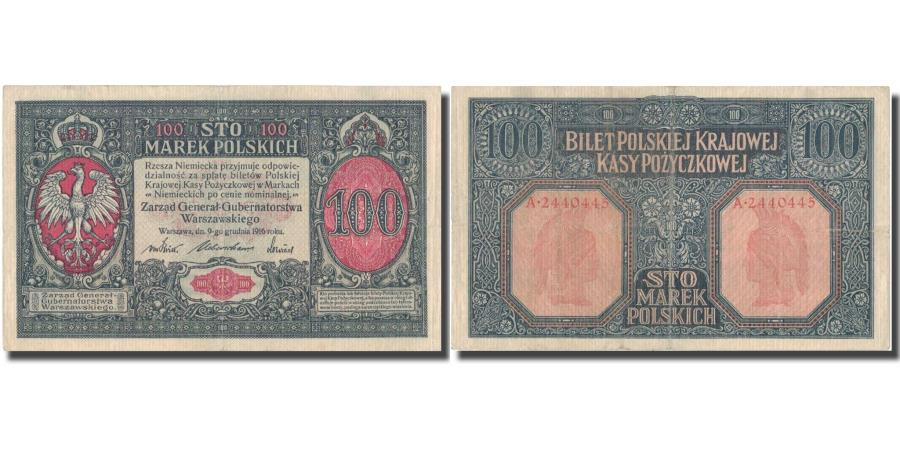 World Coins - Banknote, Poland, 100 Marek, 1916, 1916, KM:6b, AU(50-53)