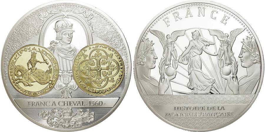 World Coins - France, Medal, Histoire de la Monnaie Française, Franc à Cheval 1360, 2013