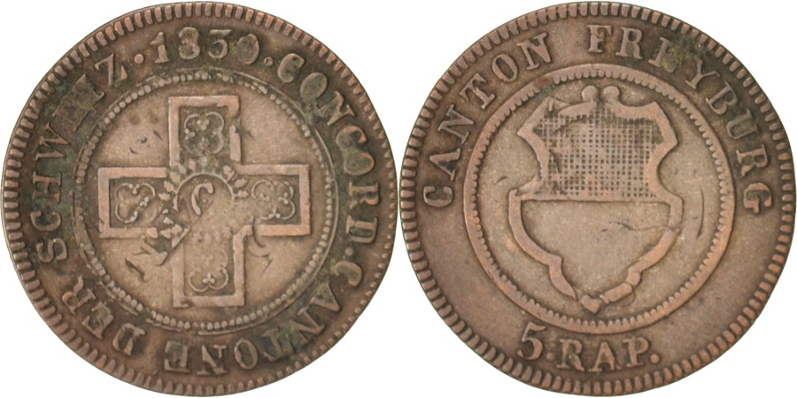 World Coins - SWISS CANTONS, FREIBURG, 5 Rappen, 1830, , Billon, KM:87