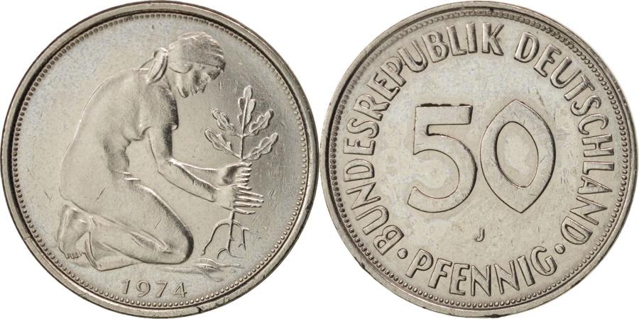 World Coins - GERMANY - FEDERAL REPUBLIC, 50 Pfennig, 1974, Hamburg, , KM:109.2