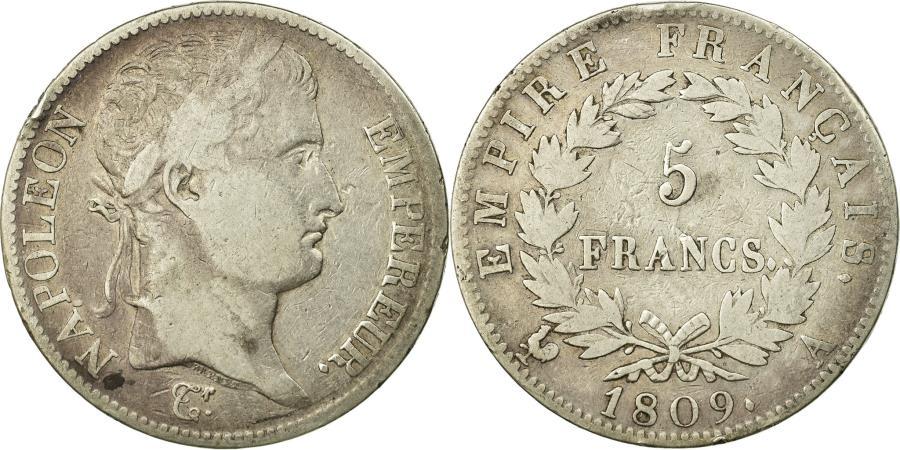 World Coins - Coin, France, Napoléon I, 5 Francs, 1809, Paris, , Silver, KM:694.1