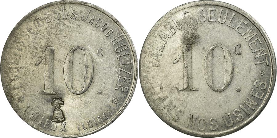 World Coins - Coin, France, Etablissements Jacob HOLTZER, Unieux, 10 Centimes,