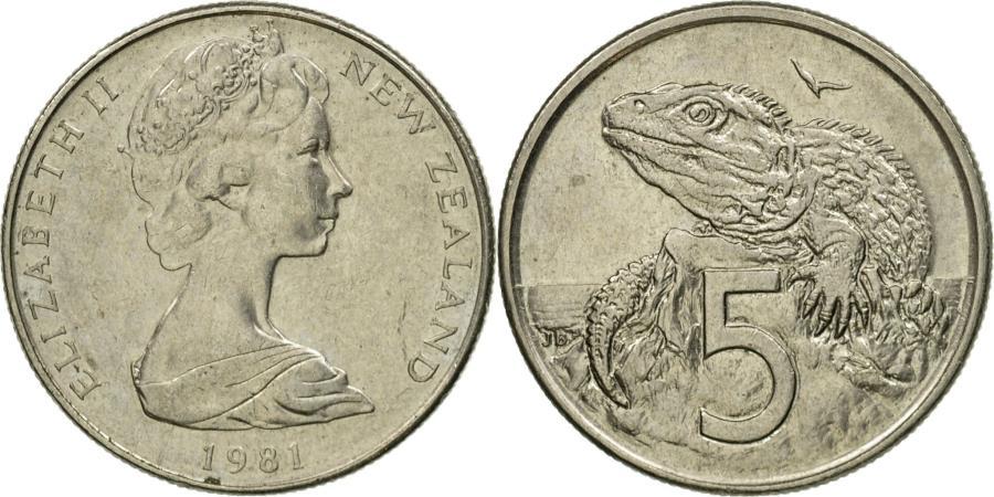 Coin, New Zealand, Elizabeth II, 5 Cents, 1981, , Copper-nickel