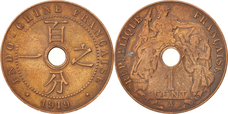 World Coins - FRENCH INDO-CHINA, Cent, 1919, Paris, , Bronze, KM:12.1, Lecompte:79