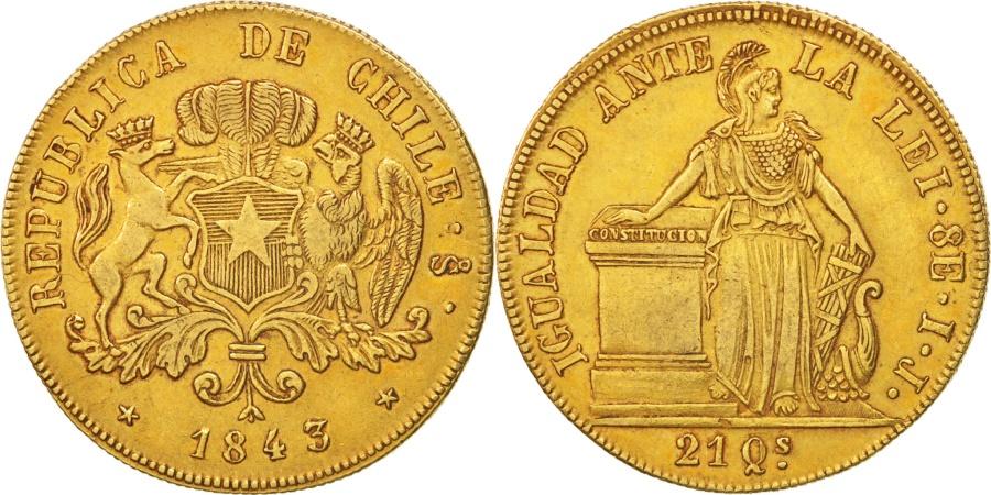 World Coins - Chile, 8 Escudos, 1843, Gold, KM:104.1