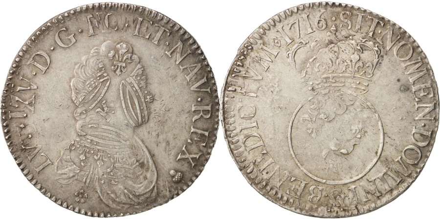 World Coins - France, Louis XV, Écu Vertugadin, 1716, Reims, , Silver, KM 414.18