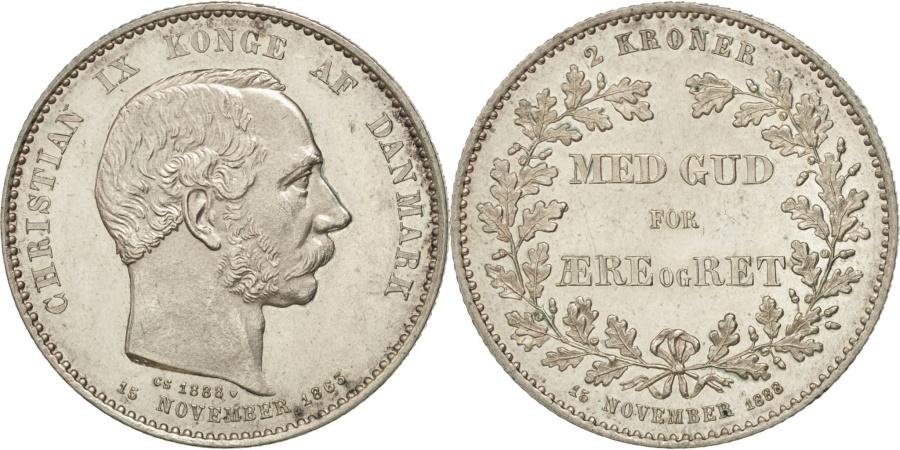 World Coins - Denmark, Christian IX, 2 Kroner, 1888, Copenhagen, , Silver, KM:799