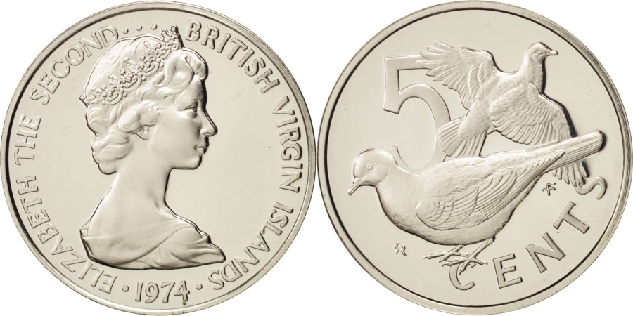 World Coins - BRITISH VIRGIN ISLANDS, Elizabeth II, 5 Cents, 1974, Franklin Mint, U.S.A.