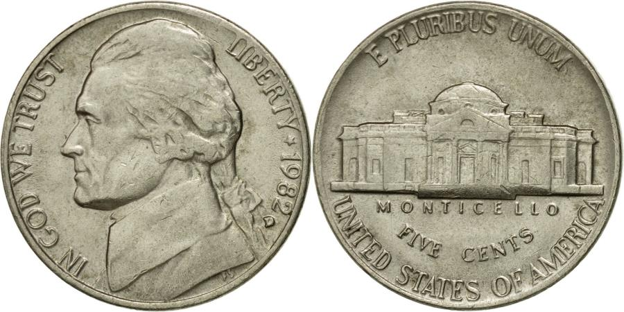 US Coins - Coin, United States, Jefferson Nickel, 5 Cents, 1982, U.S. Mint, Denver