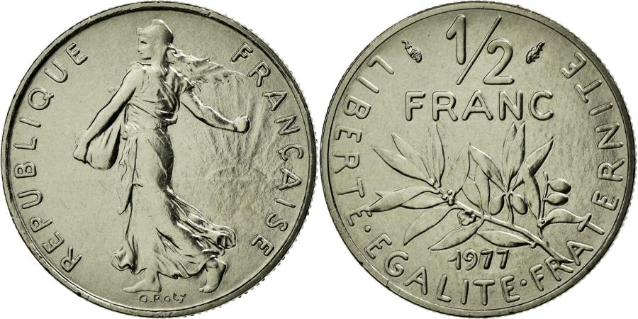 World Coins - Coin, France, Semeuse, 1/2 Franc, 1977, MS(65-70), Nickel, Gadoury:429