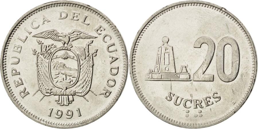 World Coins - ECUADOR, 20 Sucres, 1991, KM #94.2, , Nickel Clad Steel, 26, 8.30