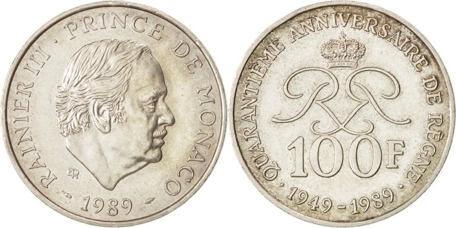 World Coins - MONACO, 100 Francs, 1989, KM #164, , Silver, Gadoury #164, 15.03