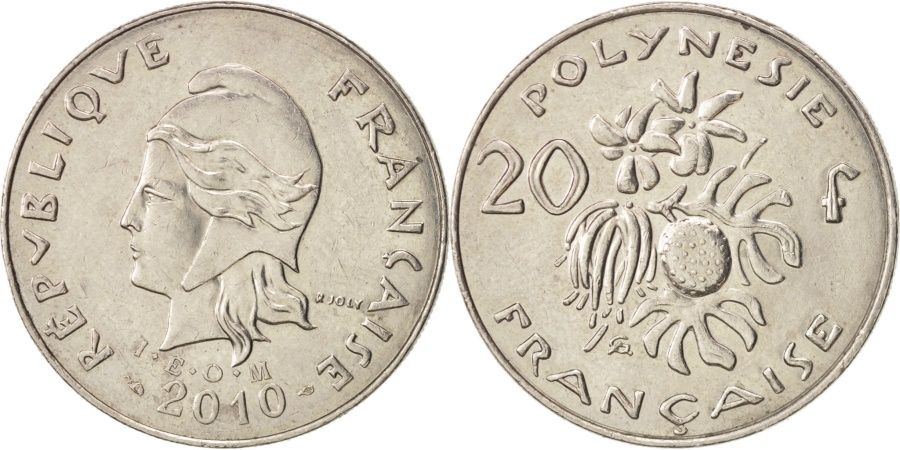 World Coins - French Polynesia, 20 Francs, 2010, Paris, , Copper-nickel, KM:9a