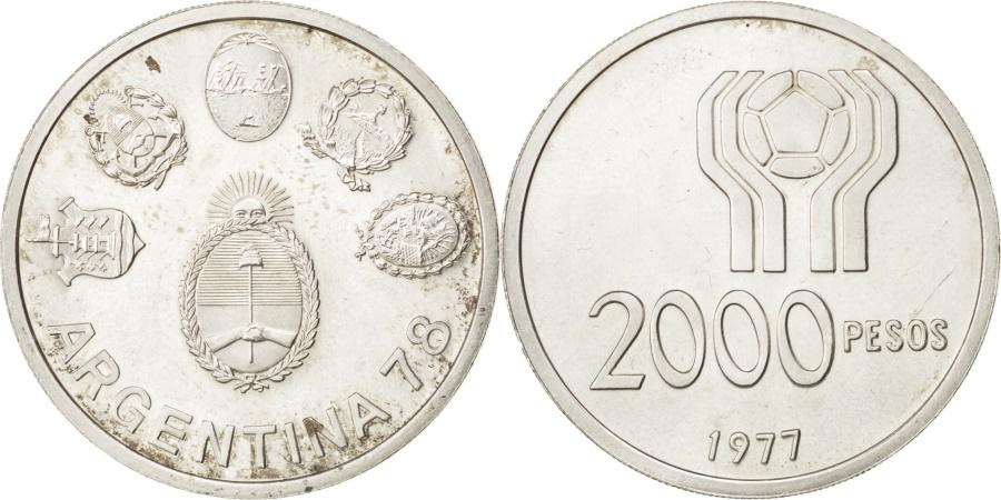 World Coins - ARGENTINA, 2000 Pesos, 1977, KM #79, , Silver, 15.02