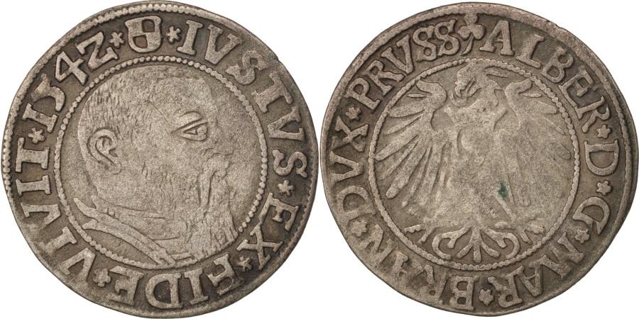 World Coins - German States, PRUSSIA, Albrecht, Groschen, 1542, K, Silver, KM:3