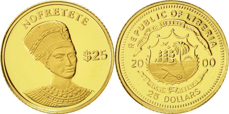 World Coins - Liberia, 25 Dollars, Nofretete, 2000, American Mint, MS(65-70), Gold, KM:512