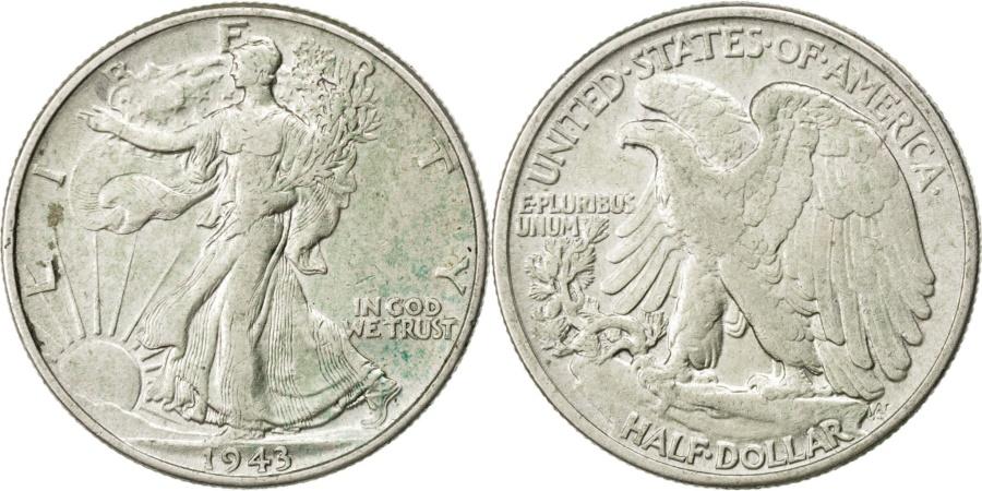 World Coins - United States, Walking Liberty Half Dollar, 1/2 Dollar, 1943, Philadelphia, KM..