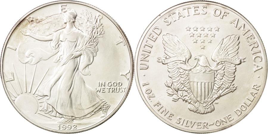 US Coins - United States, Dollar, 1992, Philadelphia, , Silver, KM:273
