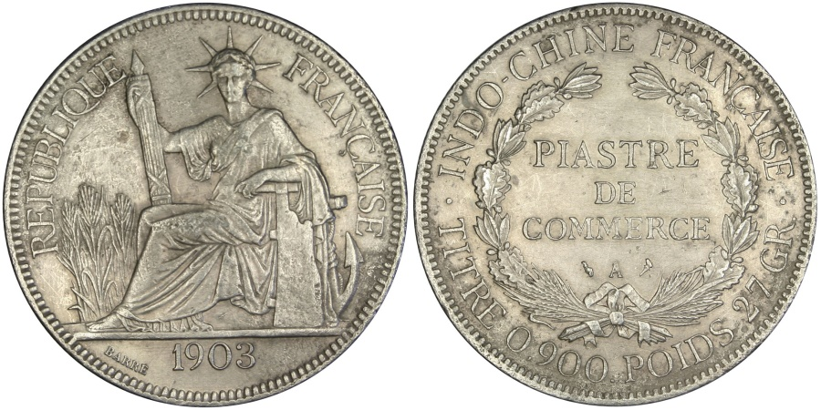 World Coins - FRENCH INDO-CHINA, Piastre, 1903, Paris, KM #5a.1, , Silver, Lecompte..