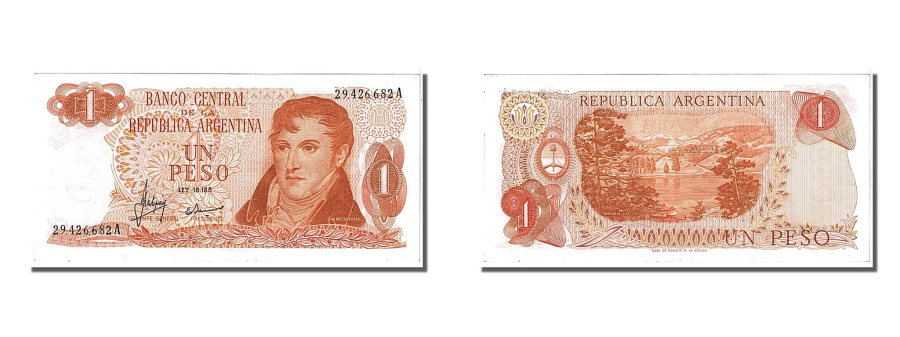 World Coins - Argentina, 1 Peso, 1970, KM #287, UNC(65-70), 682A