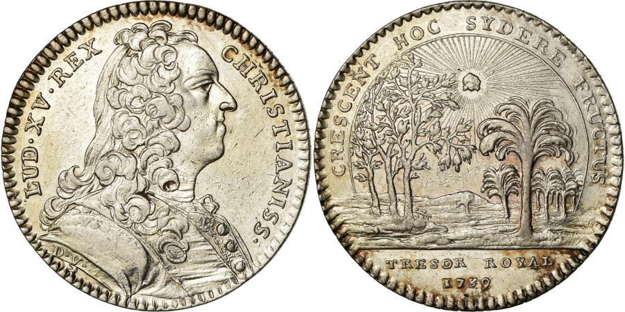 World Coins - France, Token, Louis XV, Trésor Royal, History, 1739, Duvivier,