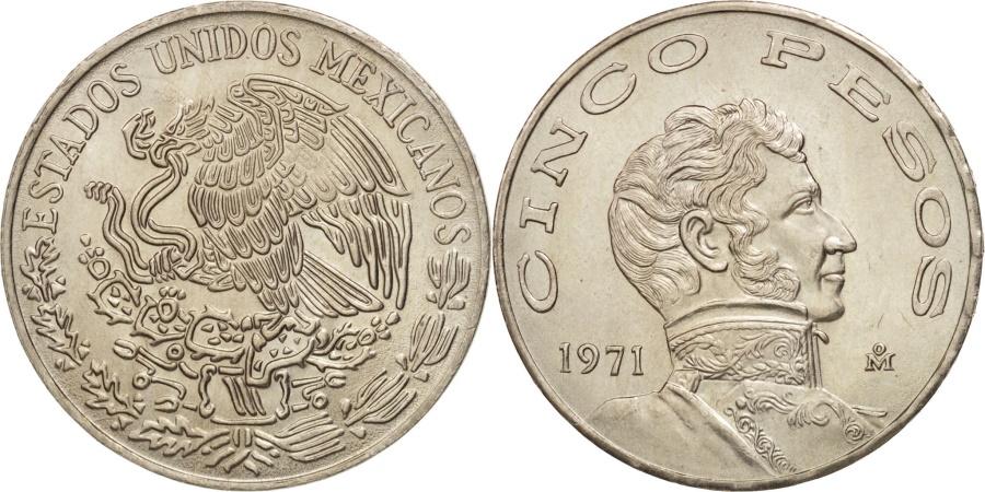 World Coins - Mexico, 5 Pesos, 1971, Mexico City, , Copper-nickel, KM:472
