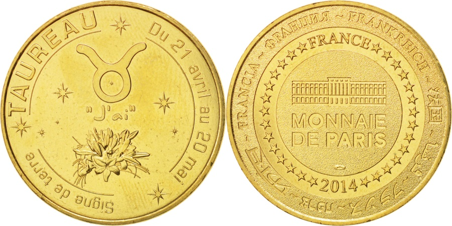 World Coins - France, Tourist Token, 13/ Zodiaque - Taureau, 2014, Monnaie de Paris