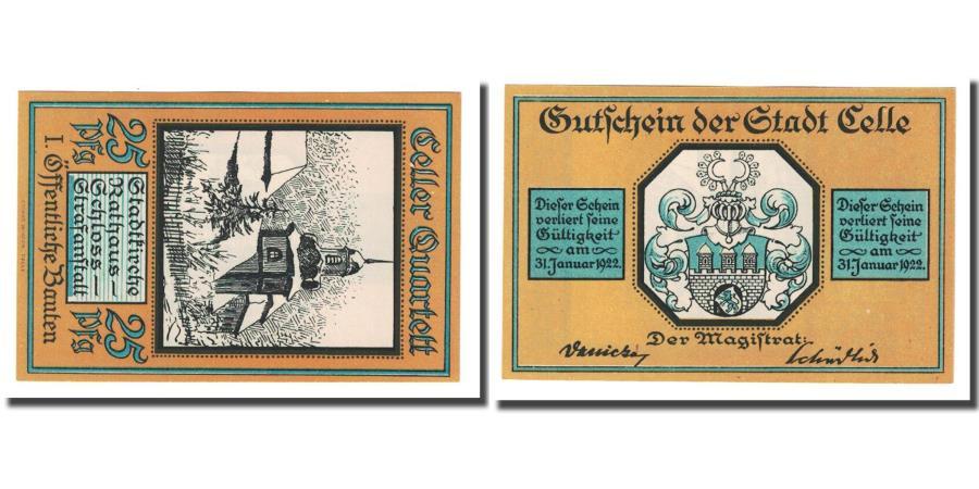 World Coins - Banknote, Germany, Celle, 25 Pfennig, Blason, 1922, UNC(63), Mehl:226.1