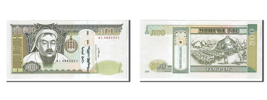 World Coins - Mongolia, 500 Tugrik, 2007, KM #66b, UNC(65-70), AL4882201