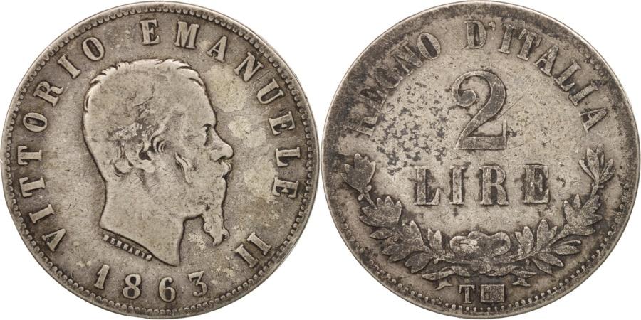 Italy vittorio emanuele ii 2 lire 1863 torino vf 20 for Coin torino
