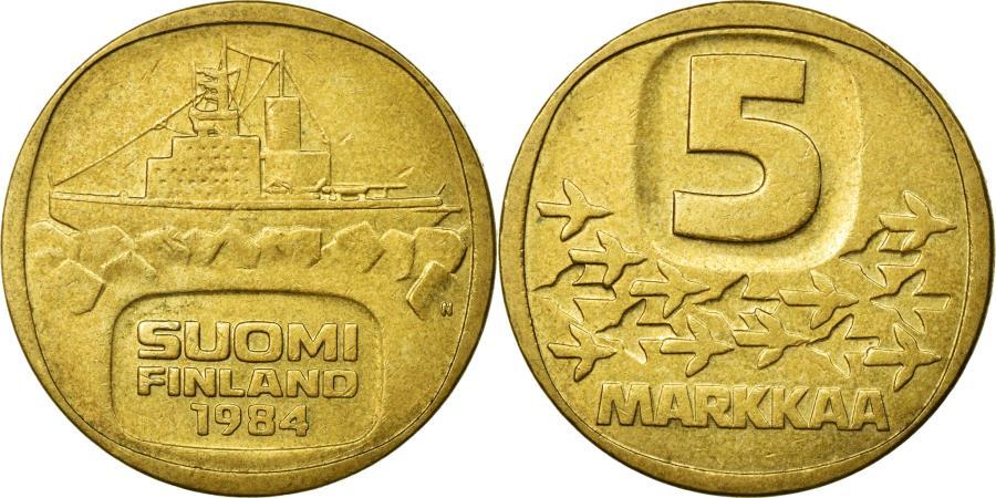 World Coins - Coin, Finland, 5 Markkaa, 1984, EF(40-45), Aluminum-Bronze, KM:57