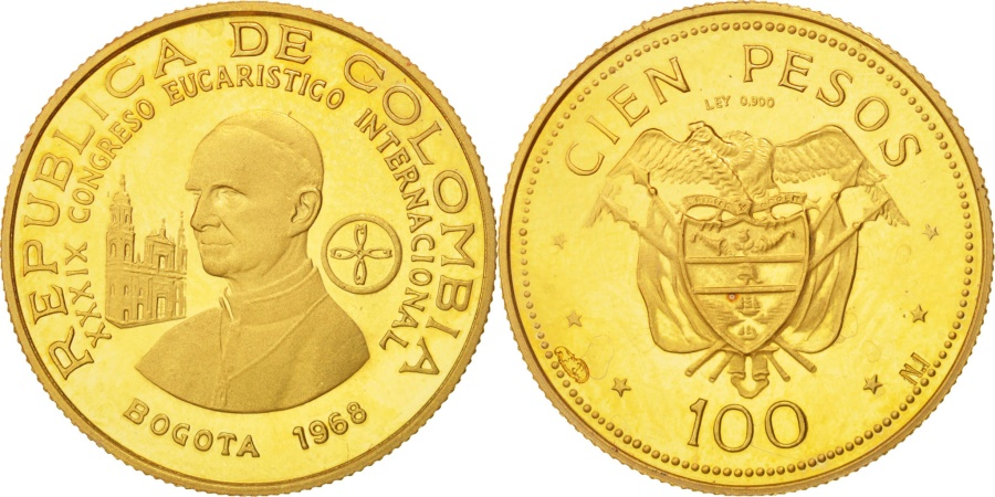 World Coins - Colombia, 100 Pesos, Paul VI, 1968, , Gold, KM:231